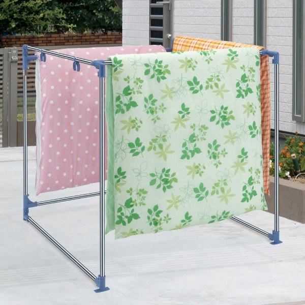布団干し 簡単組立式屏風形ふとんほし 物干し 屋外 コンパクト 屏風形 ( 屏風型 箱型 N型 ふとん干し 4枚 台 洗濯物干し ステンレス 折
