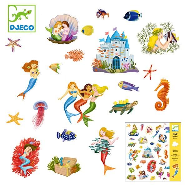 シール セット マーメイド 2種類 子供 おもちゃ 知育 ジェコ ( DJECO 人魚 手紙 手帳 子ども キッズ シールセット ステッカー シール遊
