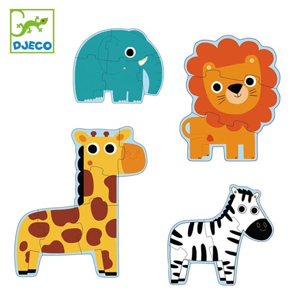 パズル 動物 幼児 知育玩具 おもちゃ ジェコ インザジャングル ( 2歳 子ども オモチャ ジェコ DJECO 玩具 組み合わせ 知育 キッズ 2才