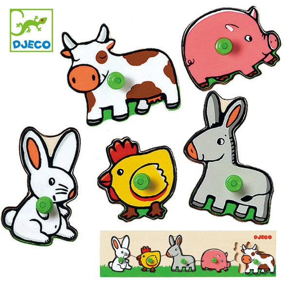 パズル 木製 動物 5ピース 幼児 知育玩具 おもちゃ ジェコ ファーム ( 12か月 1歳 子ども オモチャ ジェコ DJECO 玩具 組み合わせ 知育