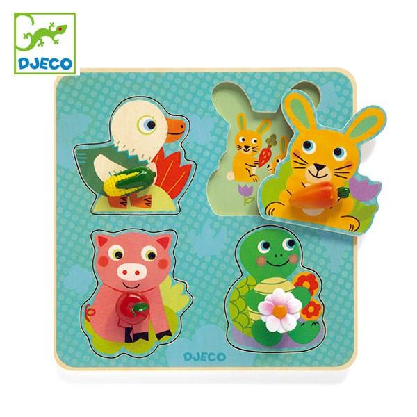 パズル 木製 動物 クロック キャロット 幼児 知育玩具 おもちゃ ジェコ ( DJECO 型はめパズル 4ピース 持ちやすい 形あわせ はめこみ 簡