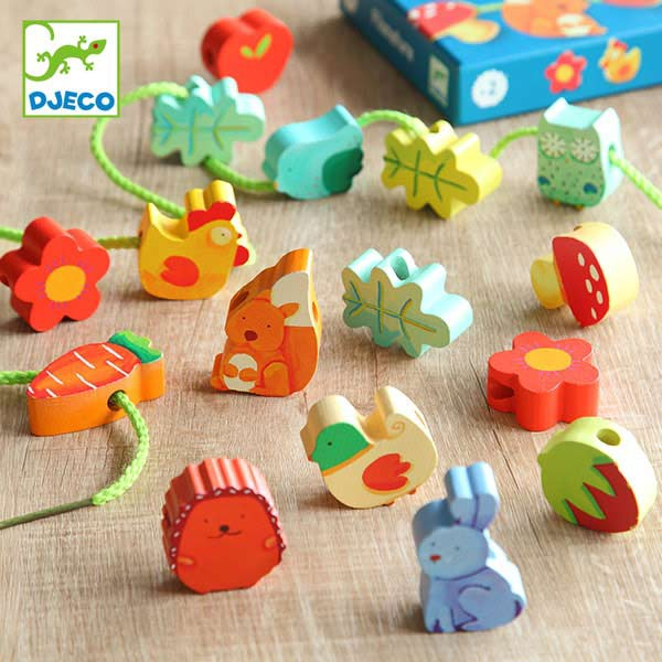 ひも通し ビーズ ナチュレ おもちゃ 知育玩具 木製 ( ジェコ DJECO 紐通し 幼児 16ピース 動物 紐 通す ビーズ遊び 木のおもちゃ 2歳 3