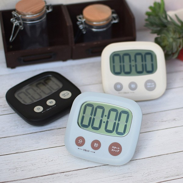 キッチンタイマー 3キータイマー 大画面 マグネット スタンド ( デジタルタイマー クッキングタイマー 磁石 電池付き 大画面タイマー