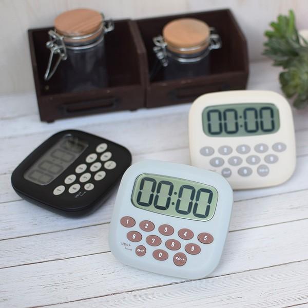 キッチンタイマー 10キータイマー 大画面 マグネット スタンド ( デジタルタイマー クッキングタイマー 磁石 電池付き 大画面タイマー