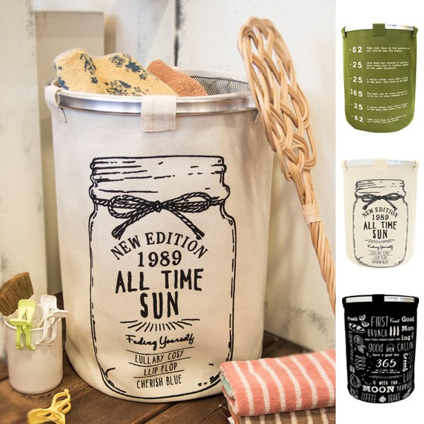 ランドリーバスケット ランドリーボックス オープンランドリーバッグ 円筒 ( 送料無料 ランドリーラック 洗濯かご 脱衣かご 洗濯カゴ
