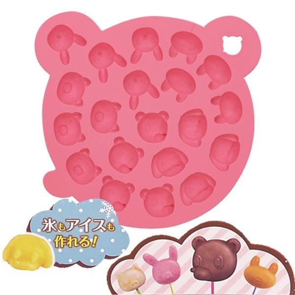 チョコレート型 チョコ・アイスモールド シリコン製 アニマル ピンク ( お菓子作り 製菓用品 製菓道具 チョコモールド アイスモー