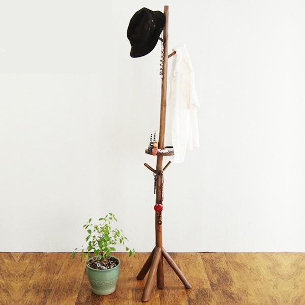 ポールハンガー アジアンテイスト 天然木 チーク材 高さ180cm ( コートハンガー 衣類収納 洋服掛け コート掛け スリム 衣類掛け ハンガ