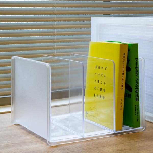 ブックスタンド 卓上 本立て 半透明 squ+ ナチュラ ソーフィス ( 本 収納 ファイルスタンド 本立 ブックラック ブックエンド 仕切り デ