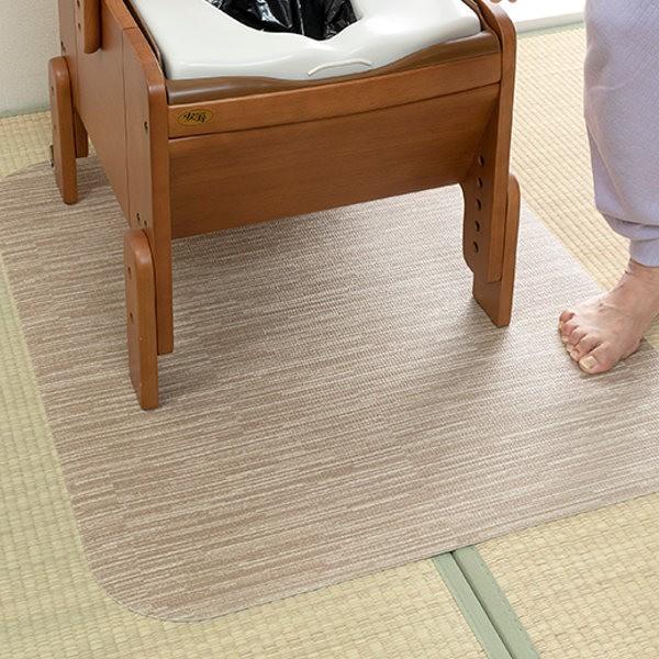 トイレマット ポータブルトイレ用 吸着 防水 床暖房対応 ( 置くだけ おくだけ 簡単 薄い カットできる 畳 和室 85×70cm 日本製 介護用