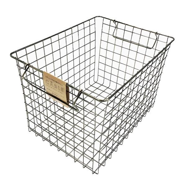 ランドリーバスケット ワイヤーバスケット CABLE キャブレ ステンレス製ワイヤーバスケット 大 ( ランドリーボックス 洗濯かご 脱衣かご