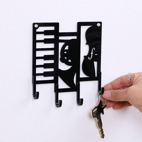 キーフック 楽器 ( 鍵 収納 玄関 壁掛け フック 壁掛けフック ウォールフック 壁掛けキーフック 鍵掛け おしゃれ 4連 インテリア雑貨