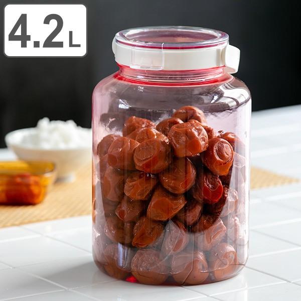 漬物容器 4.2L 熱湯消毒対応 梅干し瓶 2kg用 丸型 プラスチック製 ( 梅干しびん つけもの容器 漬け物容器 手作り 保存容器 梅干し 漬物
