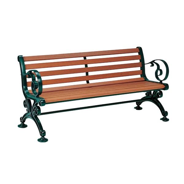 業務用 ベンチ 幅155cm ベンチスワール1500 背付 肘付 組立 ( 屋外ベンチ 屋外 イス 背もたれ付き 背付き 天然木 ガーデンベンチ ガーデ