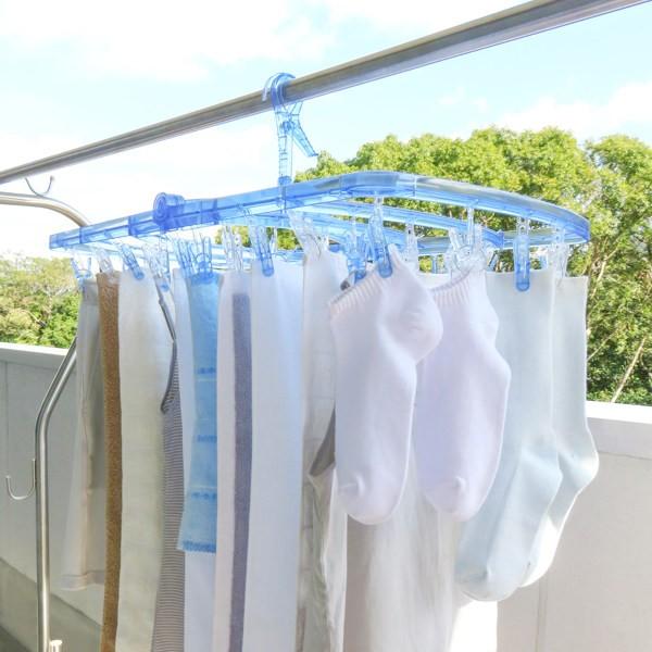 洗濯ハンガー オールポリカ 角ハンガー 42ピンチ ピンチハンガー 洗濯 洗濯物干し ( 洗濯干し 洗濯物 タオル タオルハンガー クリア ピ