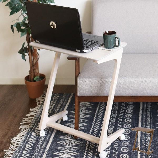 サイドテーブル 幅50cm キャスター付き 木製 木目 作業台 ソファサイド テーブル 机 ( つくえ デスク 移動 ベッドサイドテーブル ナイト
