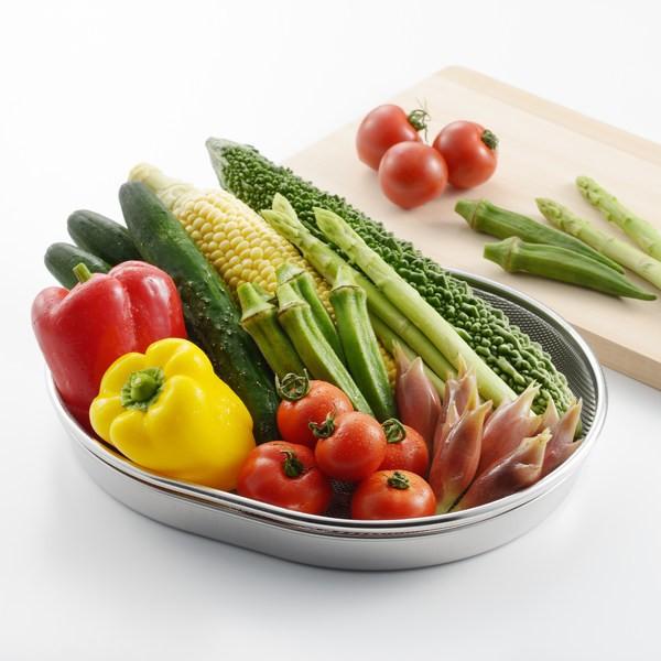 ザル トレー ステンレス製 日本製 食道楽 小判型 盆ザル&トレーセット ( ざる トレイ 浅型ザル 盆ざる 野菜 水切り 盛り付け道具 盛り