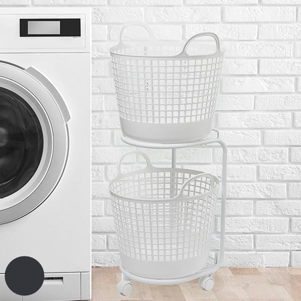 ランドリーワゴン 2段 ランドリーバスケット セット 洗濯かご ( ランドリーラック バスケット付き ラック ワゴン 脱衣かご ランドリーボ