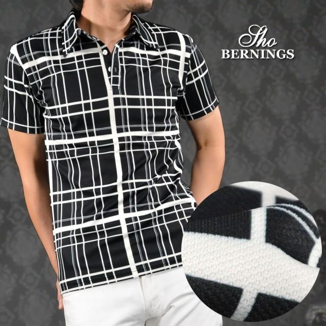 5e4d54fd48e7b ポロシャツ ランダムチェック柄 半袖 メンズ ポロシャツ(ブラック黒ホワイト白) 309922