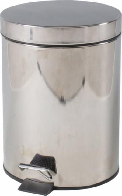 ステンレス ラウンドペダルペール 5L fj-78831 /ゴミ箱/分別/おしゃれ/ふた付き/屋外/キッチン/リビング/木/密閉/収納/北欧/インテリ