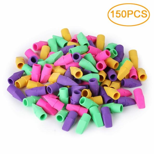 ペイントと学生のための150個のカラフルな鉛筆の上の消しゴムキャップステーショナリー毎日の使用