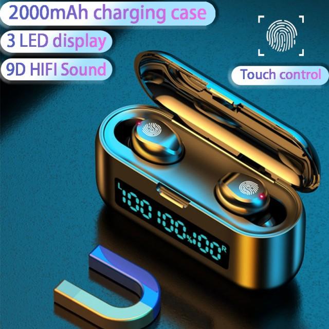 Tws BluetoothイヤフォンIPX5防水ワイヤレススポーツヘッドセットヘッドフォンHiFiイヤフォン、充電ケース付き