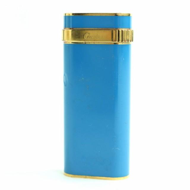 【ドンドン見直し】スイス製●カルティエ Cartier ロゴ入り オーバル ガスライター ブルー×ゴールド 着火確認済 メンズ