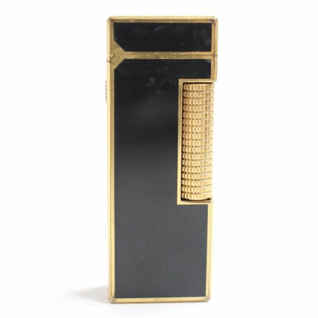 【ドンドン見直し】スイス製■dunhill ダンヒル ゴールドコーティング スクエアフォルム ガスライター ブラック 着火確認済 メンズ
