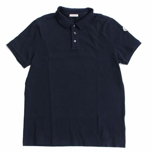 良品▽2019年SS  MONCLER モンクレール ロゴボタン・ロゴワッペン付き 半袖 ポロシャツ ネイビー M シンプルなデザイン◎