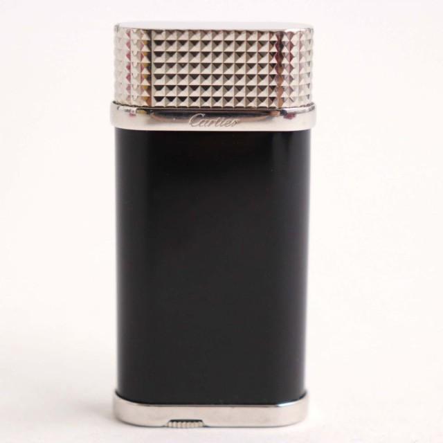 良品▽カルティエ クルドゥパリ ロゴ入り オーバル ガスライター ブラック×シルバー スイス製 ケース付き 着火確認済み◎