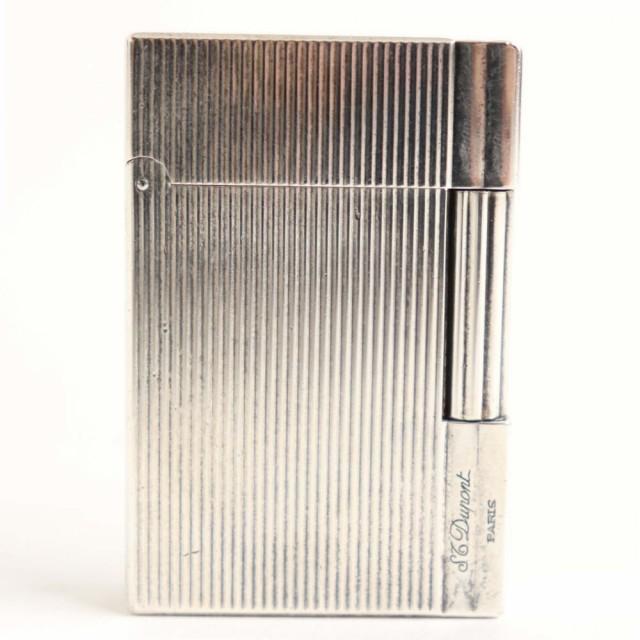 良品▽デュポン ギャッツビー ロゴ刻印入り ストライプ ローラータイプ ガスライター シルバー ケース付き フランス製 着火確認済み◎