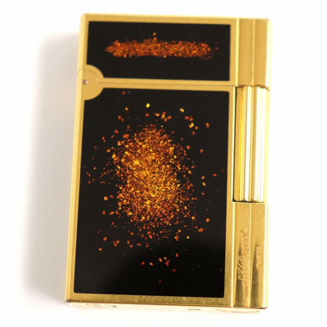良品◆デュポン ギャッツビー 金粉・ロゴ刻印入り ローラータイプ ガスライター ゴールド×ブラック フランス製 着火確認済み◎