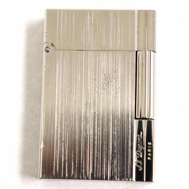 フランス製◆S.T.Dupont デュポン ギャッツビー ヘアライン ロゴ刻印入り ローラータイプ ガスライター シルバー 着火確認済み◎