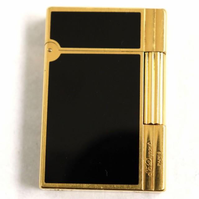 良品◆デュポン ギャッツビー ロゴ刻印入り ローラータイプ ガスライター ブラックラッカー×ゴールド フランス製 着火確認済み◎