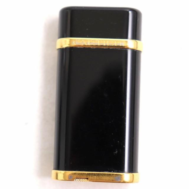 良品◆Cartier カルティエ オーバル ロゴ刻印入り ガスライター ブラックラッカー×ゴールド スイス製 着火確認済み◎