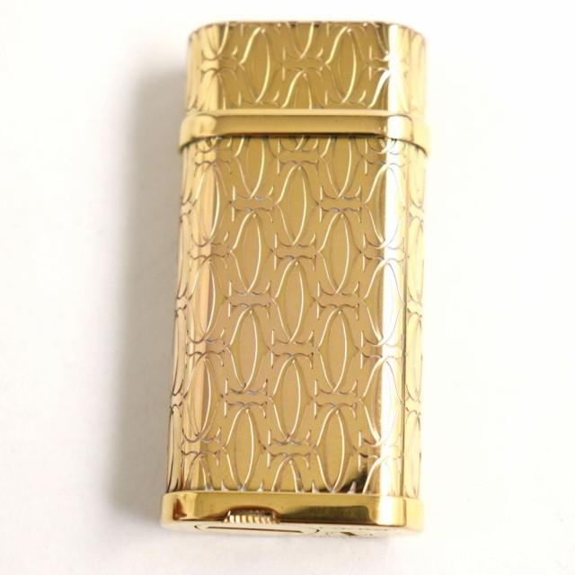 良品◆Cartier カルティエ Cドゥカルティエ 2Cモチーフ ハッピーバースデー ガスライター ゴールド スイス製 着火確認済み◎