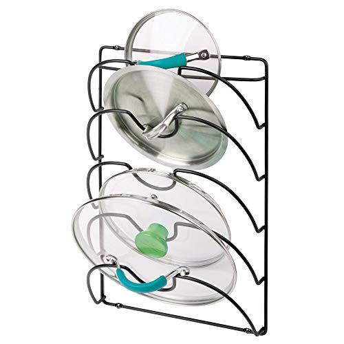 mDesign メタルワイヤー鍋とフライパン蓋ラックオーガナイザー キッチンキャビネットドアま