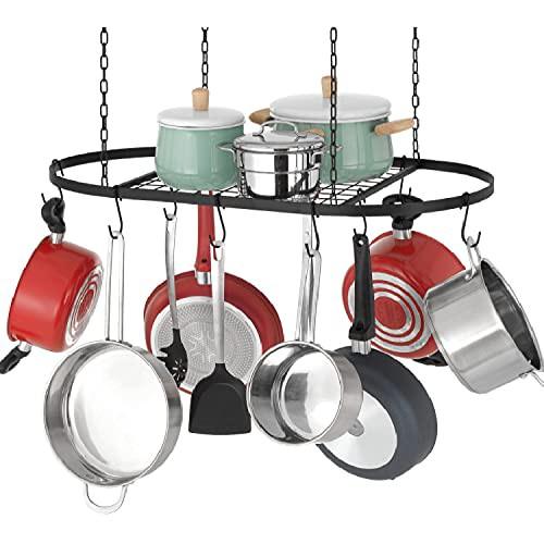 Finnhomy 天井用鍋とフライパンラック フック12個付き - 装飾オーバルマウントストレージラッ