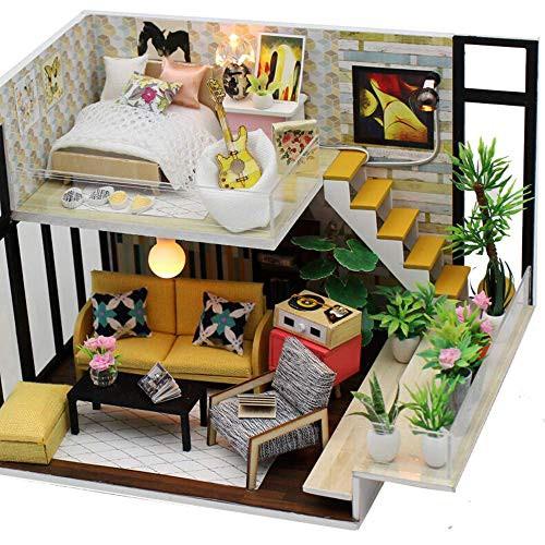 ミニチュアドールハウスDIYキット3Dミニ木製手作りドールハウスLEDライト付きクリエイテ