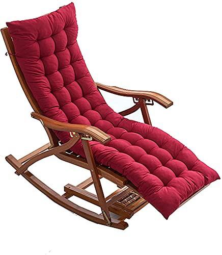 並行輸入品OUMIFA Folding Sun Lounger Adjustable Bamboo Rocking Chair with Armrest and Cotton Pad Summer Ventilation L