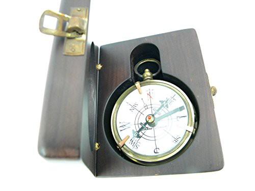 英語コンパス木製ボックス1920真鍮アンティークLookロンドンDollond
