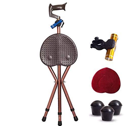 YFMMM シート付きウォーキングスティック アルミ製 3脚 折りたたみ式杖シート 高さ調節可能