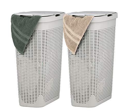 Superio スリム 洗濯かご ベージュ 40リットル 2パック 丈夫なプラスチックかご 蓋付き 丈夫な