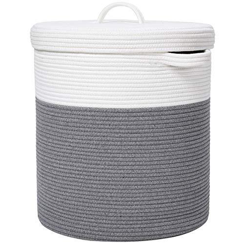 16インチ x 16インチ x 18インチ 特大収納バスケット 蓋付き コットンロープ収納バスケット 洗