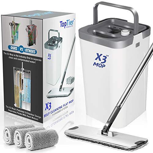 X3 フラットフロアモップバケツセット 汚水と清潔な水を分離 3室デザイン ハンズフリーの