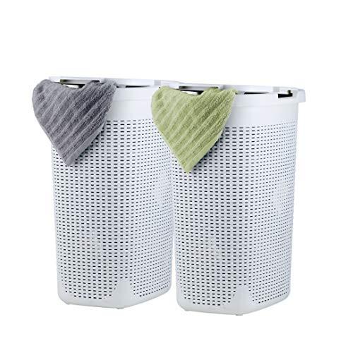 Superio 洗濯かご 蓋付き 60リットル ホワイト 2パック プラスチック ウィッカー ラージハンパ