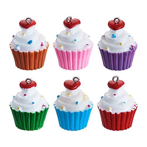特別価格送料無料Craftdady 樹脂カップケーキデザートペンダント 10個 かわいい食べ物