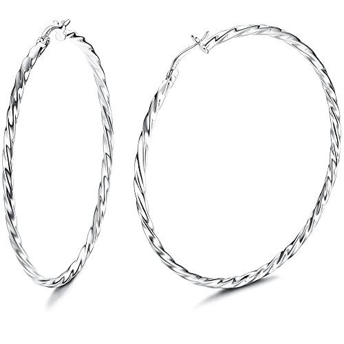 特別価格送料無料Milacolato 925 Sterling Silver Hoop Earrings for Women 18K White Gold Plated Jewelry High Po
