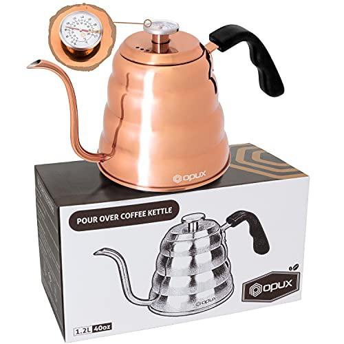 送料無料 OPUX グースネック 注ぐコーヒーケトル 温度計付き プレミアムグレード ステンレス