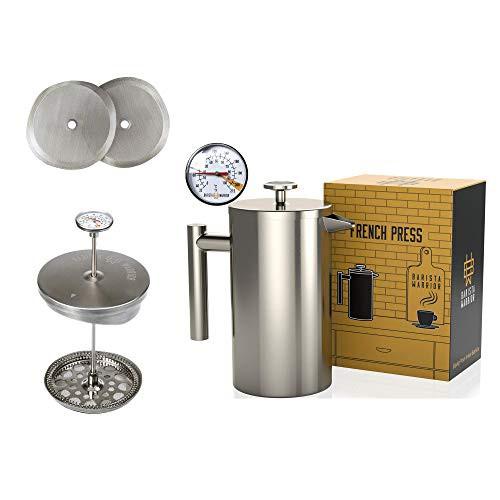 送料無料 ステンレス鋼フレンチプレス温度計付き - 絶縁フレンチプレスコーヒーメーカー -