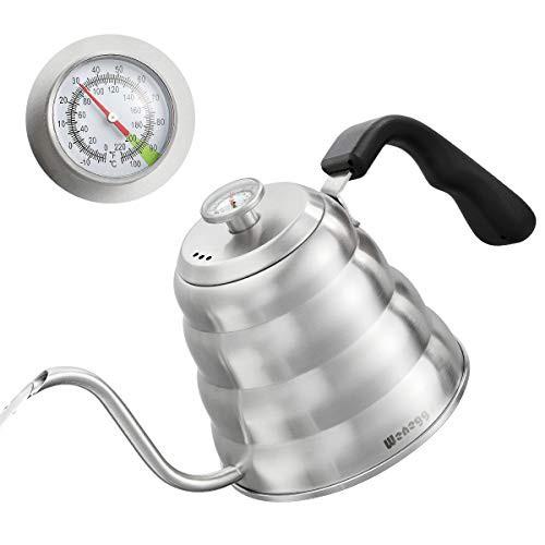 送料無料 ポアオーバーコーヒーケトル 温度計付き 正確な温度40液量オンス - プレミアムステ